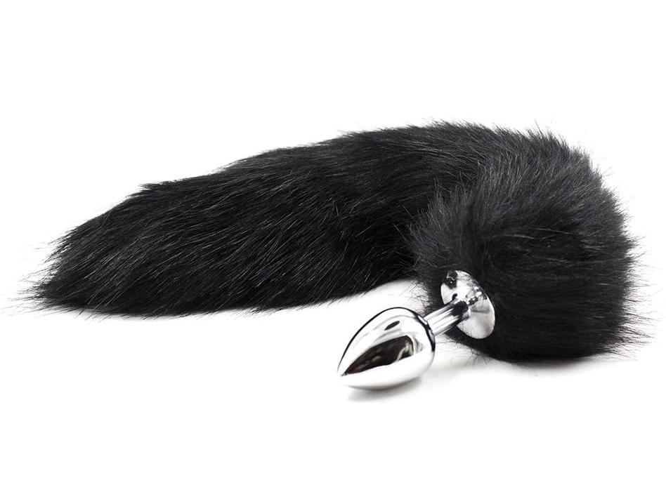 Anální kolík s ocáskem (liška), černý