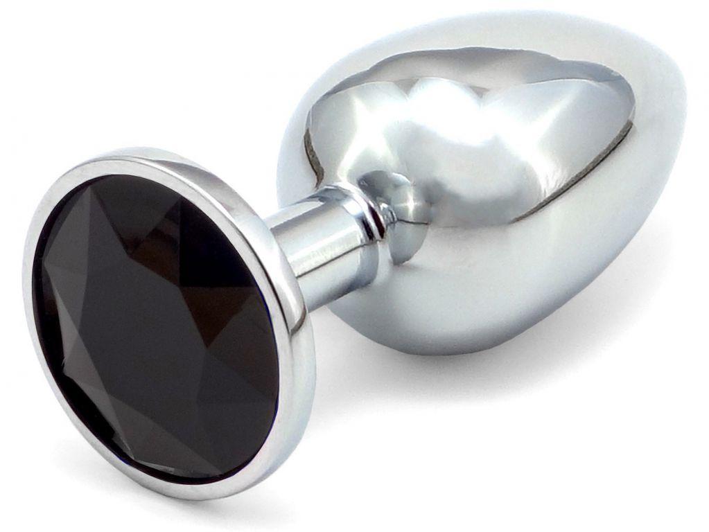 Anální kovový kolík s krystalem - černý