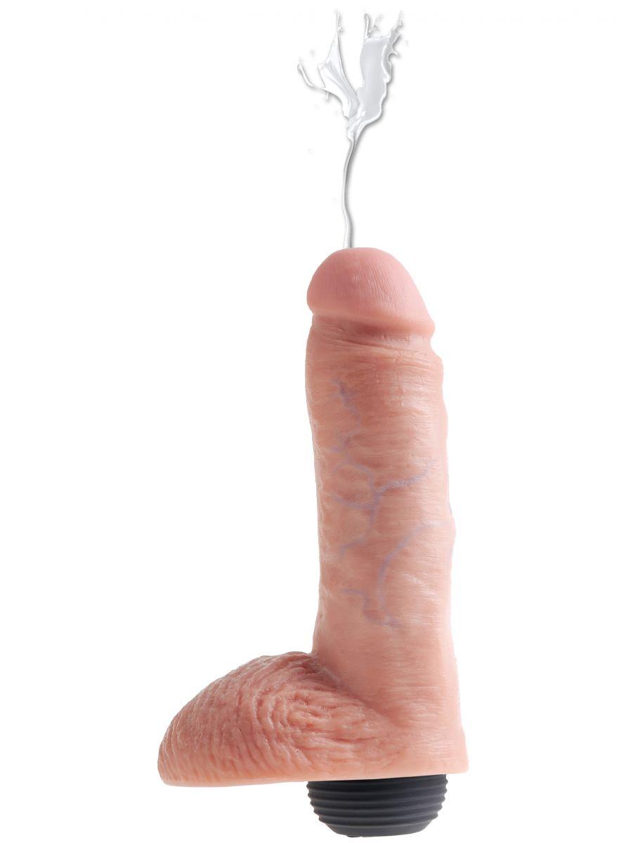 Stříkající realistické dildo s varlaty King Cock 8
