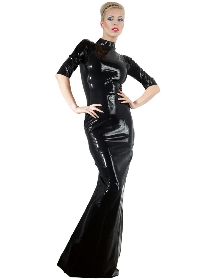Dlouhé latexové šaty s krátkými rukávy