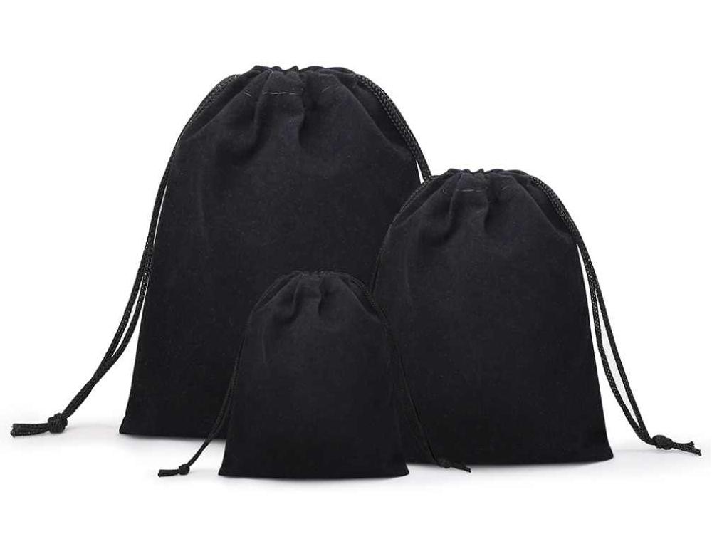 Dárkový sametový pytlík - černý, různé velikosti