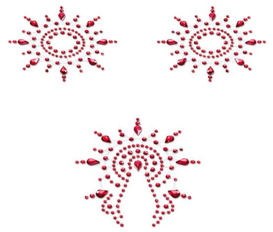 Samolepicí ozdoby na bradavky a vaginu Petits Joujoux Gloria - červené