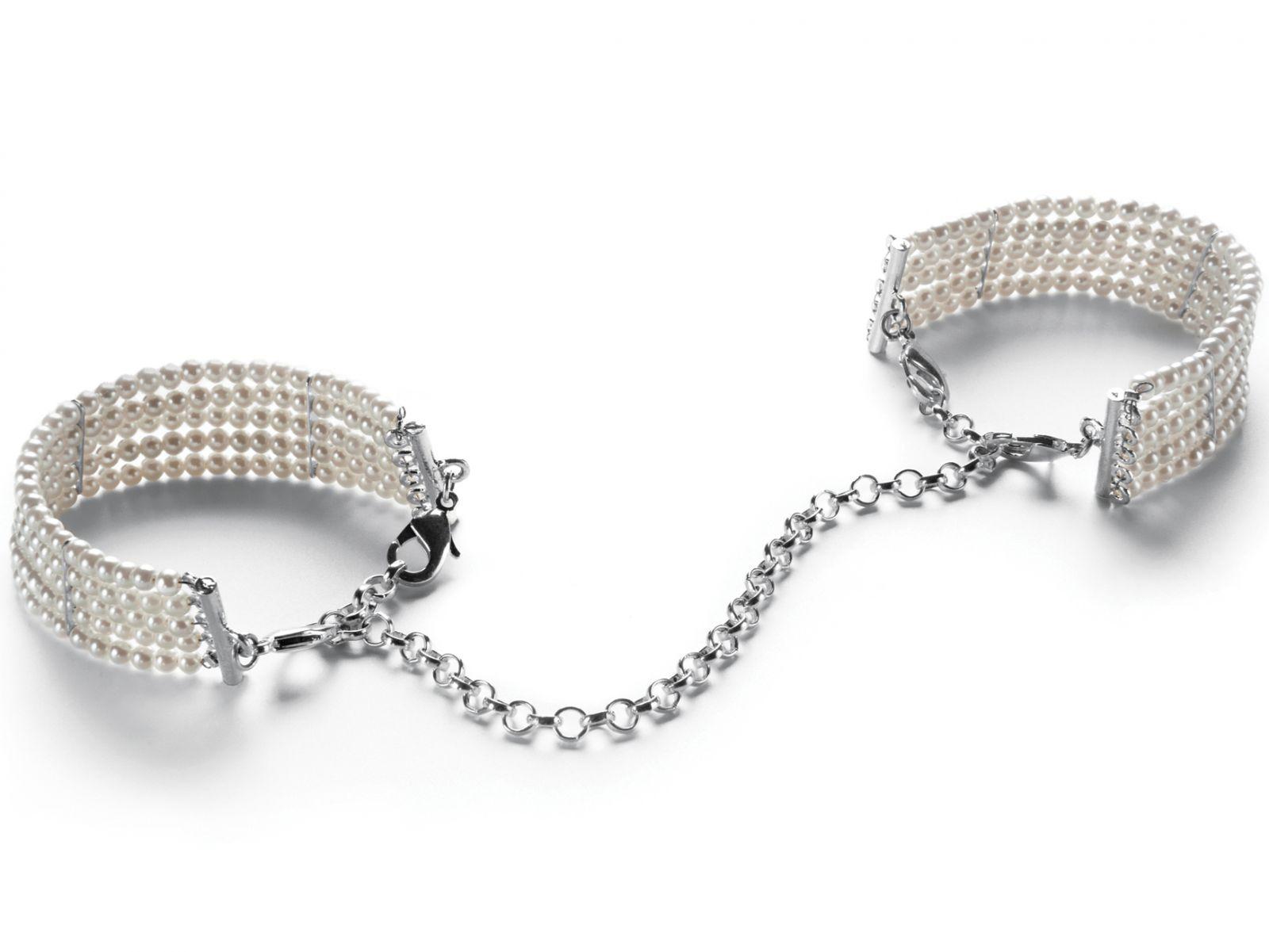 Perlové náramky - pouta, bílé